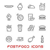 Restaurant and fast food thin line icons Royalty Free Stock Images