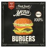 Restaurant Fast Foods menu burger on chalkboard  Royalty Free Stock Image