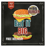 Restaurant Fast Foods menu burger on chalkboard vector format ep Stock Photos