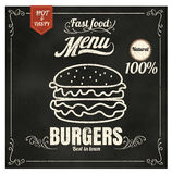 Restaurant Fast Foods menu burger on chalkboard vector format ep Stock Image