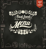 Restaurant Fast Foods menu burger on chalkboard vector format ep Stock Photo