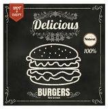 Restaurant Fast Foods menu burger on chalkboard vector format ep Royalty Free Stock Image