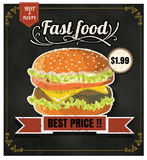 Restaurant Fast Foods menu burger on chalkboard vector format ep Stock Images