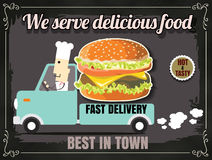 Restaurant Fast Foods menu burger with cheif cook fast delivery Royalty Free Stock Photography