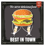 Restaurant Fast Foods menu burger with chief cook on chalkboard Stock Image