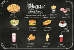 Restaurant Fast Foods menu on chalkboard vector format eps10 Royalty Free Stock Photo