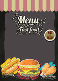 Restaurant Fast Foods menu on chalkboard vector format eps10 Royalty Free Stock Image