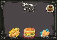 Restaurant Fast Foods menu on chalkboard vector format eps10 Royalty Free Stock Photography