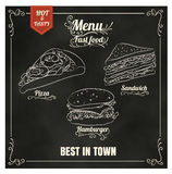 Restaurant Fast Foods menu on chalkboard vector format eps10 Royalty Free Stock Images