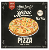 Restaurant Fast Foods menu pizza on chalkboard Stock Images