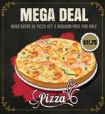 Restaurant Fast Foods menu pizza on chalkboard vector format eps Stock Photo