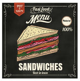 Restaurant Fast Foods menu sandwich on chalkboard vector format Royalty Free Stock Photo