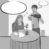 Restaurant film noir comics. Film noir in a restaurant, pop art illustration with speech bubbles Stock Image