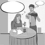 Restaurant film noir comics Stock Image