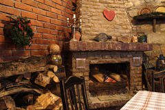 Restaurant with fireplace Royalty Free Stock Image