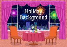 Restaurant and Fireworks in Window Stock Image