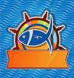 Restaurant fish menu. On rudder Royalty Free Stock Image