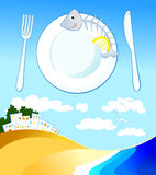 Restaurant with fish specialties. Vector illustration that expresses the concept of the restaurant with fish specialties Stock Image