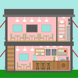 Restaurant flat interior vector. For your ideas Royalty Free Stock Photo