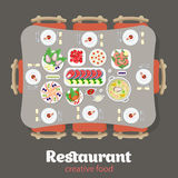 Restaurant flat  japanese food dish table appointments. Restaurant flat style design  graphic top view elements set. Japanese Lobster Fish steak Shrimps Oysters Stock Photos