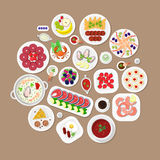Restaurant flat vector top view Japanese food: lobster fish dish Royalty Free Stock Photos