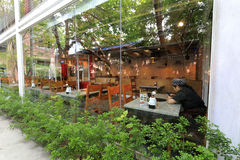 Restaurant with floor-to-ceiling windows in redtory creative garden, guangzhou, china. Redtory creative garden is the predecessor of the food factory, mainly stock image