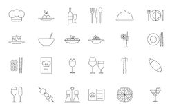 Restaurant food black icons set. Set of 24 Restaurant food black icons Stock Photography