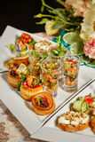 Restaurant food canapes appetizers Royalty Free Stock Images