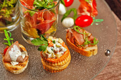 Restaurant food canapes appetizers Stock Photo