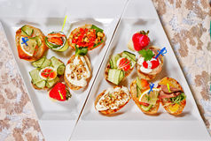 Restaurant food canapes appetizers Royalty Free Stock Image