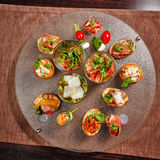 Restaurant food canapes appetizers Stock Photography