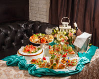 Restaurant food canapes appetizers Royalty Free Stock Photography
