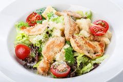 Restaurant food closeup - salad with roasted chicken fillet and Stock Photo