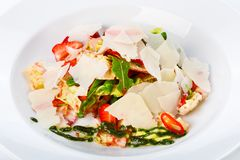 Restaurant food closeup - unusual salad with bacon and strawberr Stock Photography