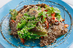 Free Restaurant Food Closeup. Warm Meat Salad With Sesame Royalty Free Stock Image - 76782636