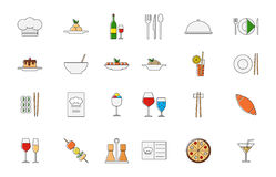 Restaurant food colorful vector icons set. Set of 24 Restaurant food colorful vector icons Royalty Free Stock Photography