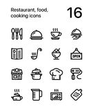 Restaurant, food, cooking icons for web and mobile design pack 1 Stock Photography