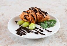 Restaurant food - croissant dessert Stock Photography