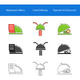 Restaurant food delivery service icons Royalty Free Stock Image