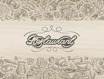 Restaurant. food and drink hand drawn sketch Royalty Free Stock Photos