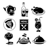 Restaurant food icons black and white Royalty Free Stock Image