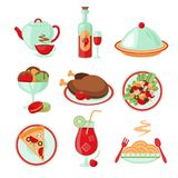 Restaurant food icons Royalty Free Stock Photography
