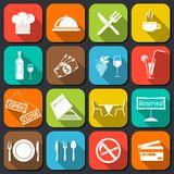 Restaurant Food Icons Flat Royalty Free Stock Image