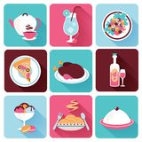 Restaurant Food Icons Flat Royalty Free Stock Photos