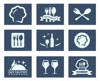 Restaurant food icons set Royalty Free Stock Photography