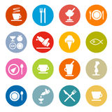 Restaurant - Food Icons Set. Colorful Circle Flat Design Vector Restaurant - Food Icons Set stock illustration