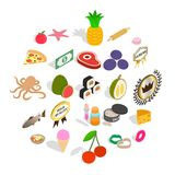 Restaurant food icons set, isometric style. Restaurant food icons set. Isometric set of 25 restaurant food vector icons for web isolated on white background Royalty Free Stock Image