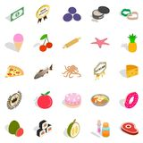 Restaurant food icons set, isometric style. Restaurant food icons set. Isometric set of 25 restaurant food vector icons for web isolated on white background Stock Photography