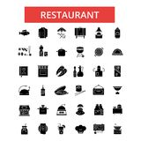 Restaurant food illustration, thin line icons, linear flat sign. Restaurant food illustration, thin line icons, linear flat signs, outline pictograms, vector Stock Images