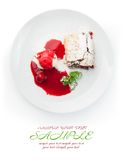 Restaurant food isolated - cherry strudel with ice cream and sau Stock Photo